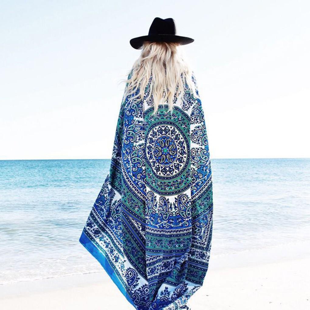 方形民族圖案海灘毛巾雪紡瑜伽墊沙灘巾大披肩防曬海邊絲巾度假海灘圍巾