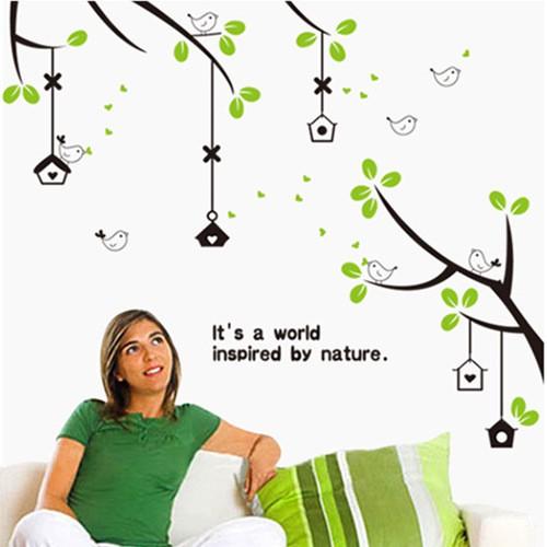 ❤限宅配❤ 可移除牆貼DIY 小鳥樂園臥室客廳電視背景裝飾牆紙AY716
