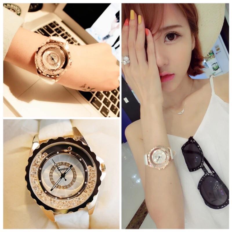 韓國手錶 潮流 水鑽防水石英表真皮帶正品時裝表女錶casio