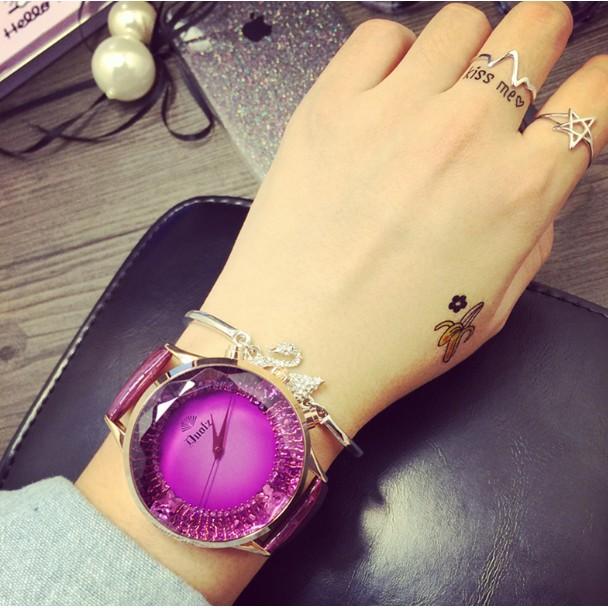 大錶盤蝴蝶刻度女士手錶皮帶女表夢幻 潮流學生腕表時裝表