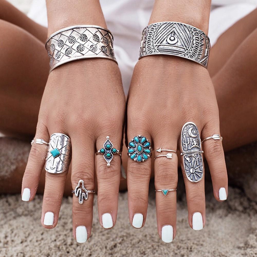 9 個古董銀鍍復古波希米亞米迪戒指套