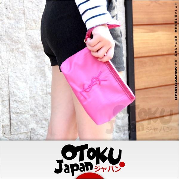 YSL 聖羅蘭紫紅刺繡LOGO 金拉鍊微漆皮手拿包化妝包OY012