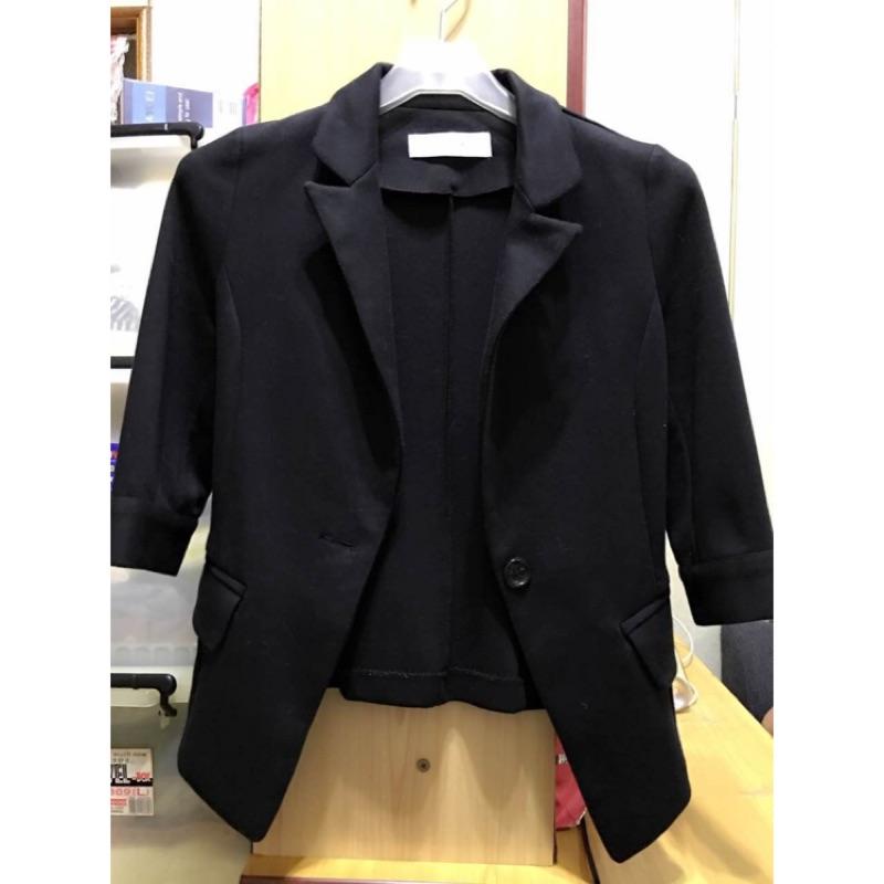 ( )黑色七分袖修身短款小西裝顯瘦休閒小西服外套