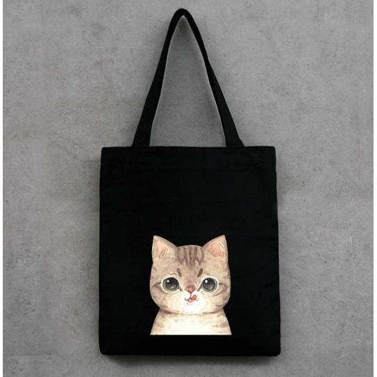 韓國貓帆布包肩背包大容量 喵星人帆布袋手提包單肩包手提袋拉鍊環保袋 帆布環保袋肩背包喵書包