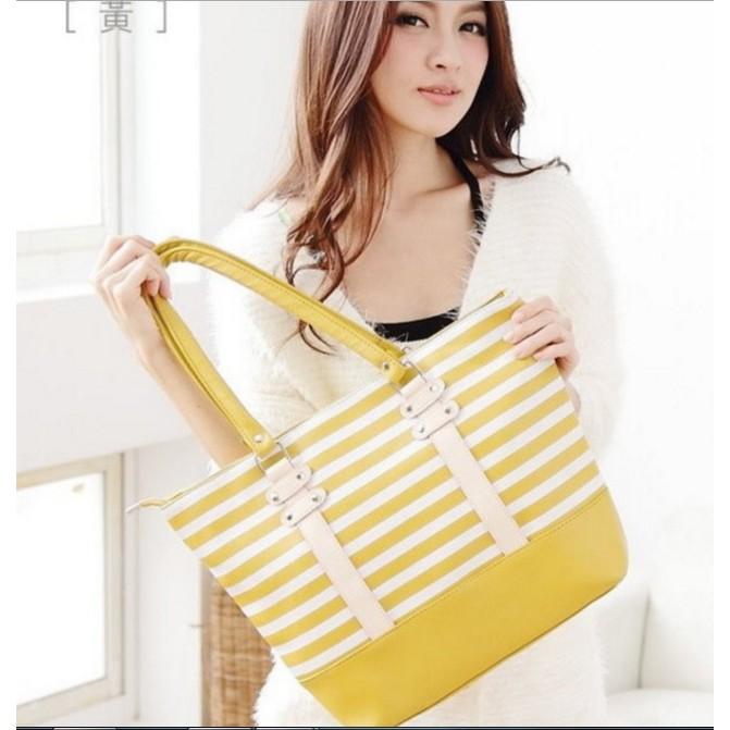 黃色配色橫紋托特包海軍風皮革通勤包 女包 套價可放A4 肩背包手提包