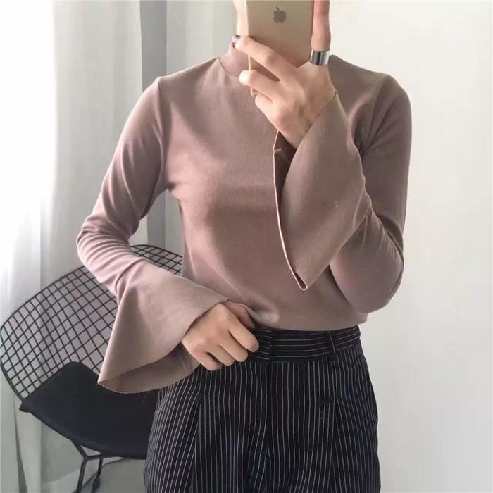 香舍麗榭高領喇叭袖長袖T 恤女學生學院風純棉 寬鬆修身體恤上衣打底衫