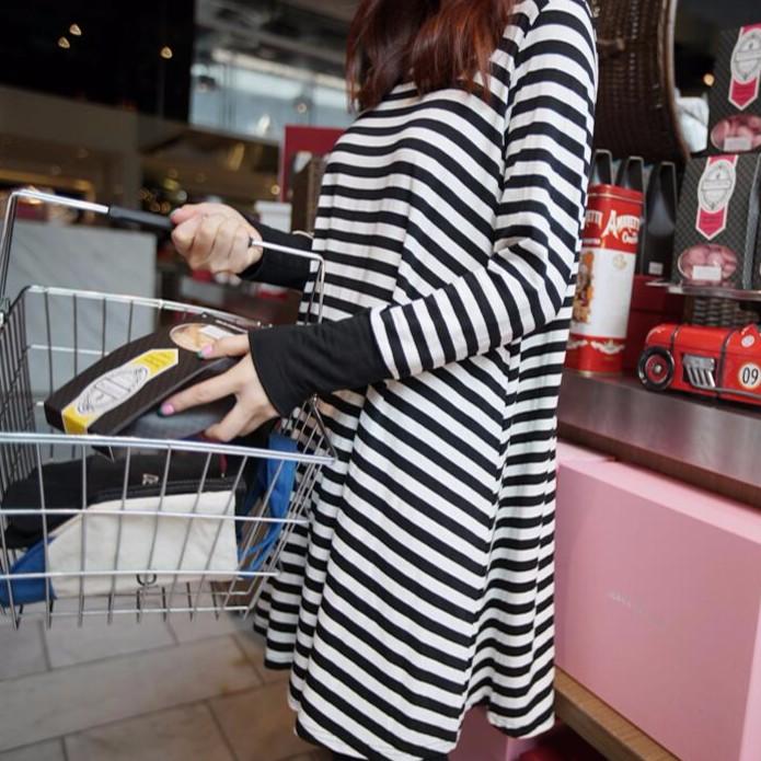 百搭條紋寬鬆A 字T 恤連身裙幸福腳印 LN 211