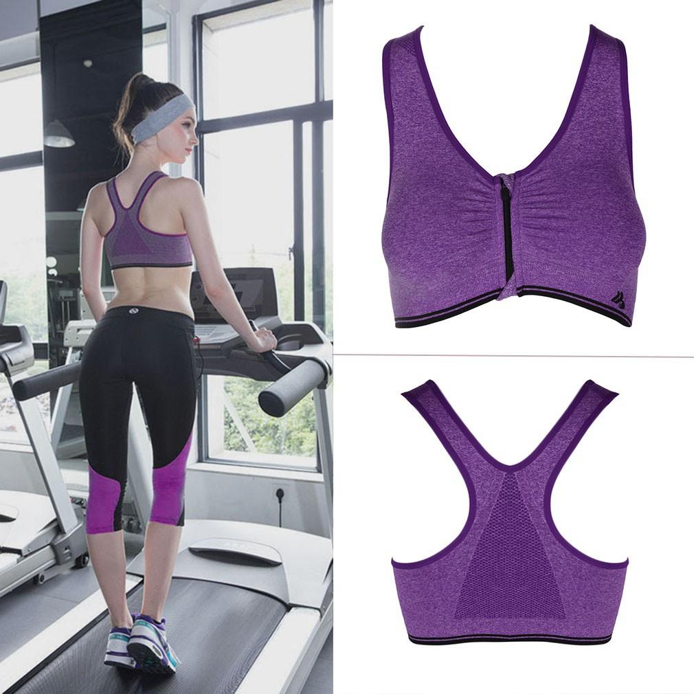 女性 胸罩跑步健身房瑜伽健身前開拉鍊 內衣瑜珈慢跑有氧 無鋼圈內衣