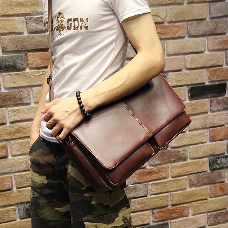 男包商務包包手提包男士皮包公事包單肩包橫款休閒電腦包潮流