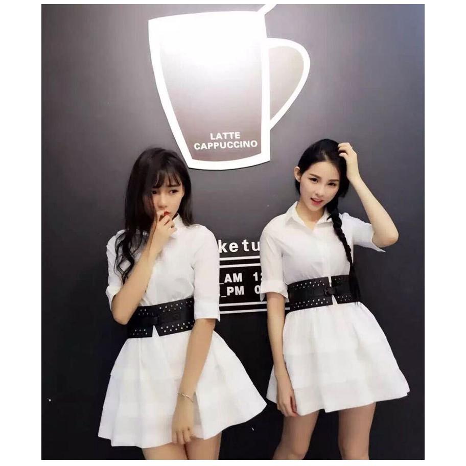 阿B 潮流 洋裝禮服小洋裝 寬鬆顯瘦襯衫式小洋裝配腰封17116203