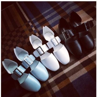 簡約氣質方頭復古一字鞋百搭包鞋涼鞋釦鞋學生韓 款