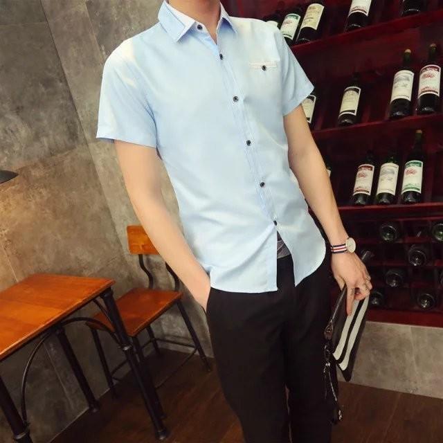 潮電街 青少年純棉男士純色簡約免燙正裝 潮修身商務 短袖襯衫