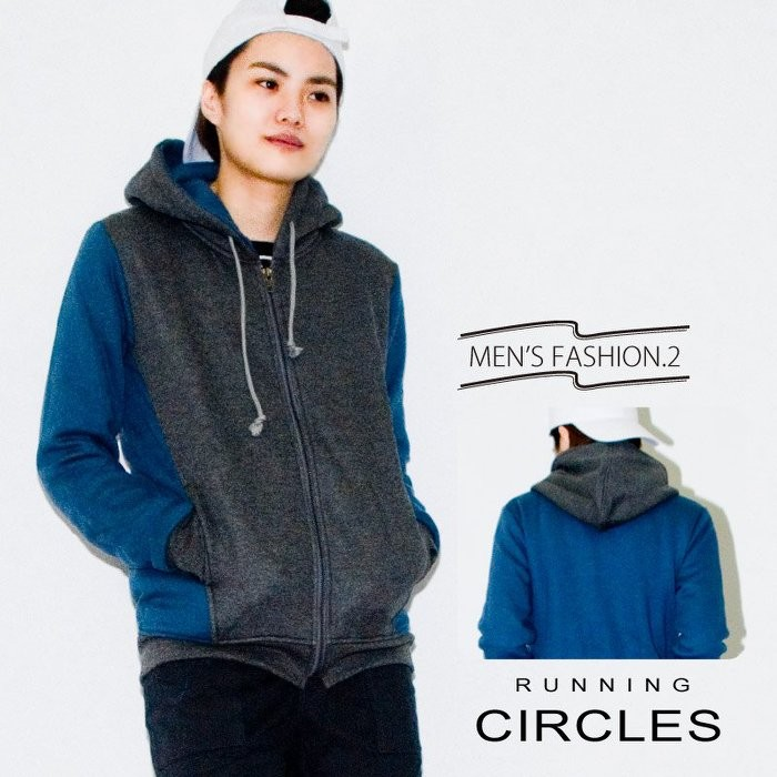 MIT 自訂款 日系修身剪裁拼色保暖刷毛連帽外套CIRCLE 小版男裝