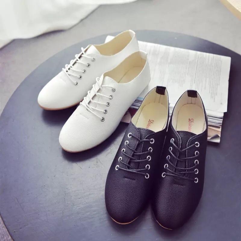 2016 小白鞋女繫帶白色皮單鞋 夏休閒鞋豆豆鞋平底學生女鞋