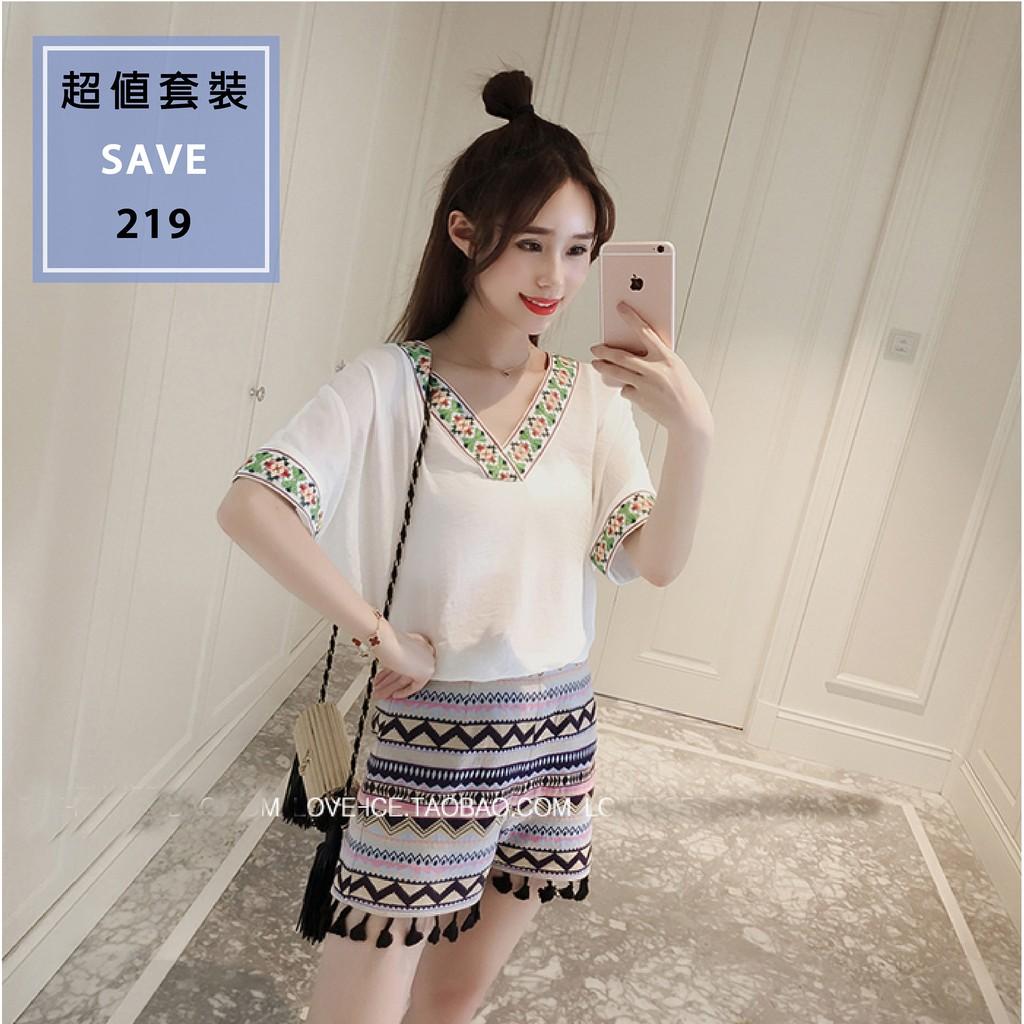 套裝韓國休閒民族風流蘇刺繡套裝2 1 套裝