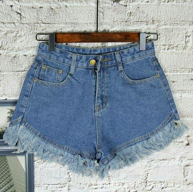 流蘇下襬中腰修身顯瘦牛仔短褲