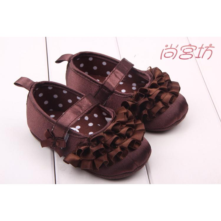 尚宮坊~ 咖啡色波浪綢布公主鞋寶寶鞋學步鞋嬰兒鞋~A2039 ~