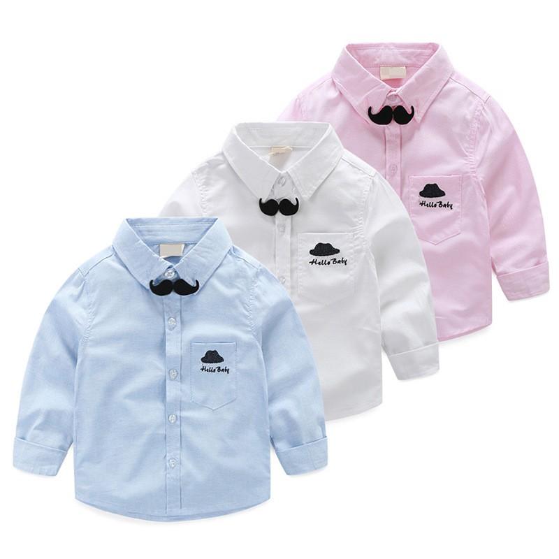兒童白色襯衫長袖 休閒 小鬍子上衣男童寶寶襯衣