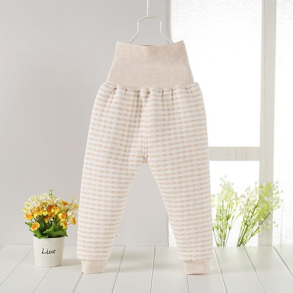 天然純棉嬰兒 厚鋪棉保暖高腰護肚褲條紋黃