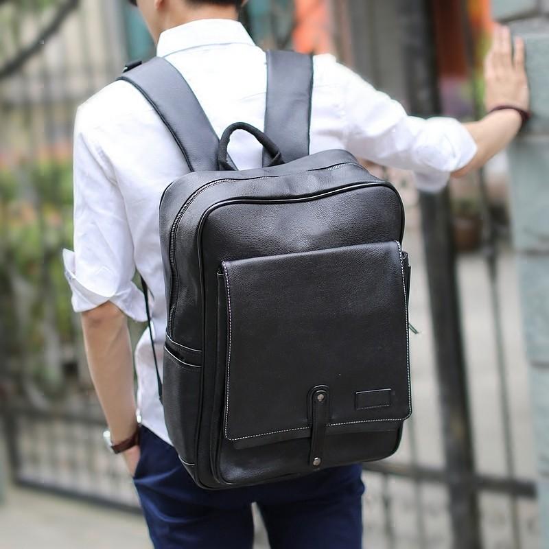 韓國KLING 雙肩包 男士書包方形豎款背包筆記本電腦包