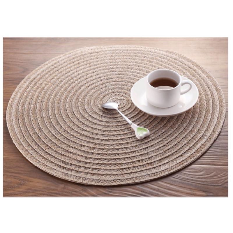 2 色圓形PVC 編織餐墊餐墊桌墊桌巾野餐歐式Zakka 居家小物佈置鄉村風裝飾拍照餐桌擺