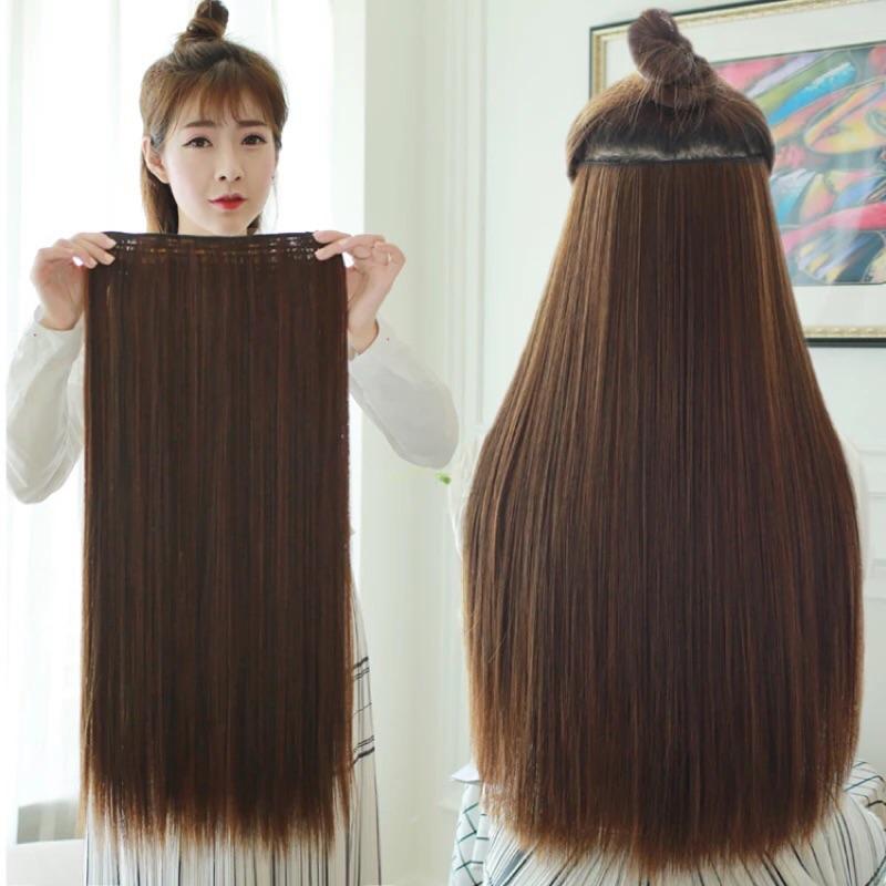 5 扣假髮片淺棕色60 公分 絲加厚款