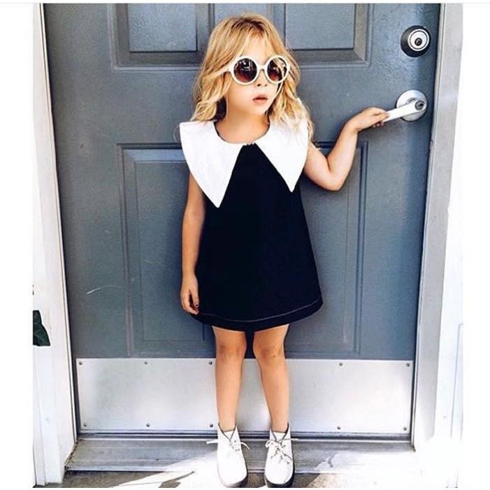 KD317 女童小香風黑白無袖 親子洋裝黑白大翻領親子裝無袖連身裙母女裝