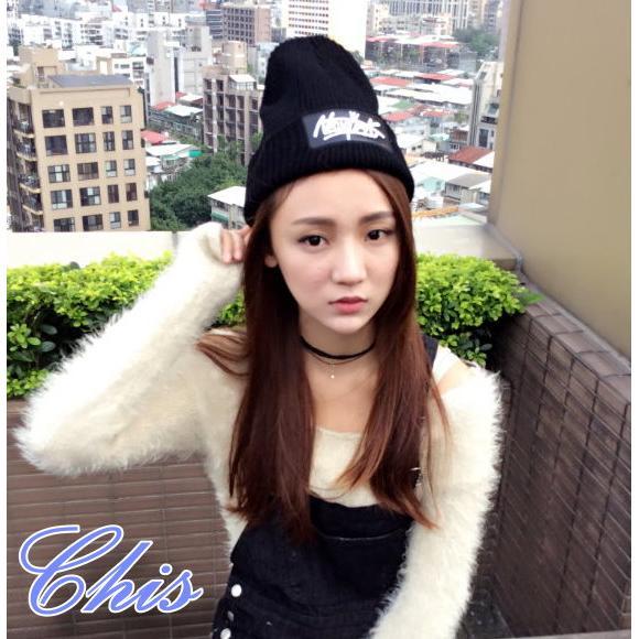 Chis Store ~NewYork 繡字皮革標針織帽子~韓國 原宿風英文字母毛線帽套頭