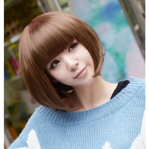 夏日清新甜美氣質假髮短髮蓬鬆BOBO 齊劉海鮑伯頭修臉梨花頭深棕淺棕