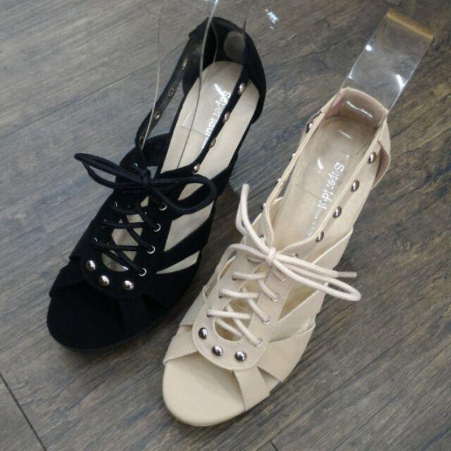 鉚釘羅馬綁帶高跟涼鞋高跟鞋