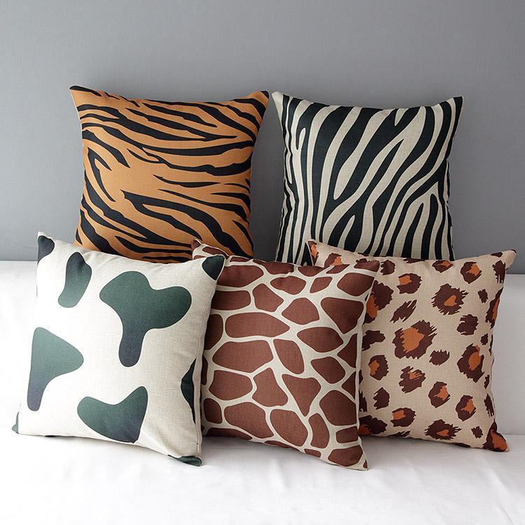 豹紋老虎虎紋斑馬乳牛點點長頸鹿厚棉麻抱枕抱枕套不含枕芯枕心枕頭zakka 動物