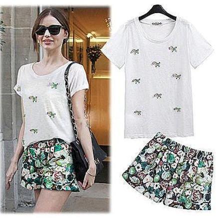 232 韓國連線 明星款3D 刺繡小馬休閒短袖T 恤印花短褲套裝