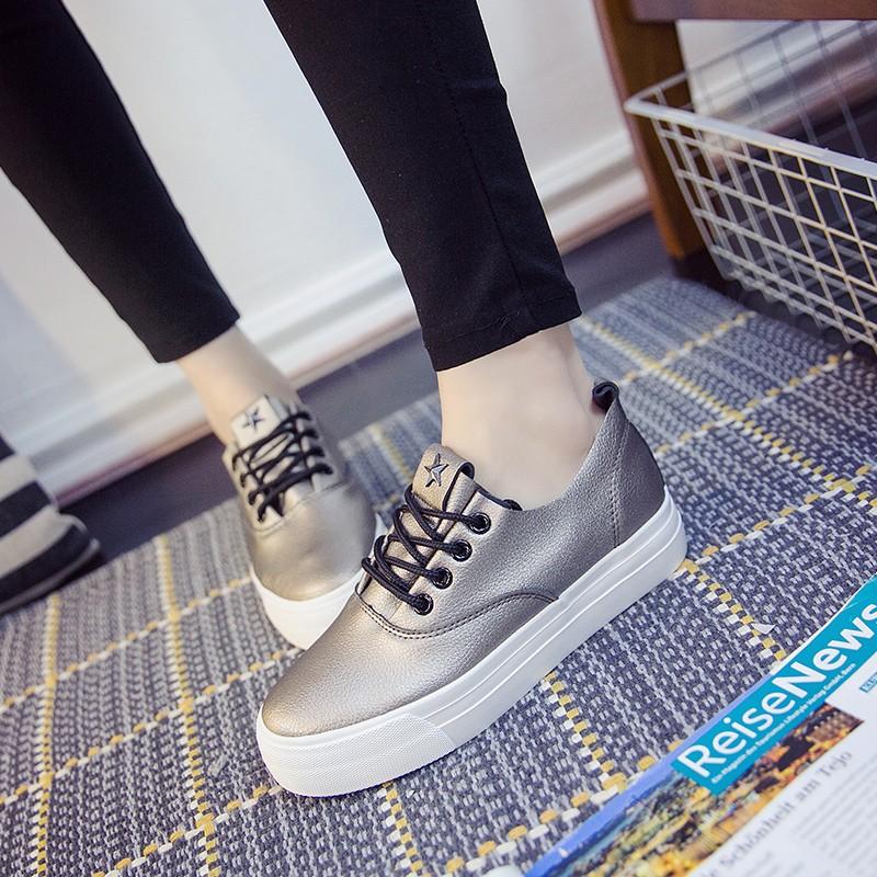 女松糕鞋女帆布鞋女內增高鞋旅遊鞋小白鞋休閒鞋板鞋單鞋 鞋樂福鞋增高鞋2016 春款低幫皮面