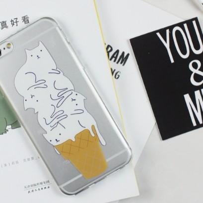 軟殼705 ~美好的事物~原創韓簡約白貓咪冰淇淋透明殼iphone 5s SE 6s 7
