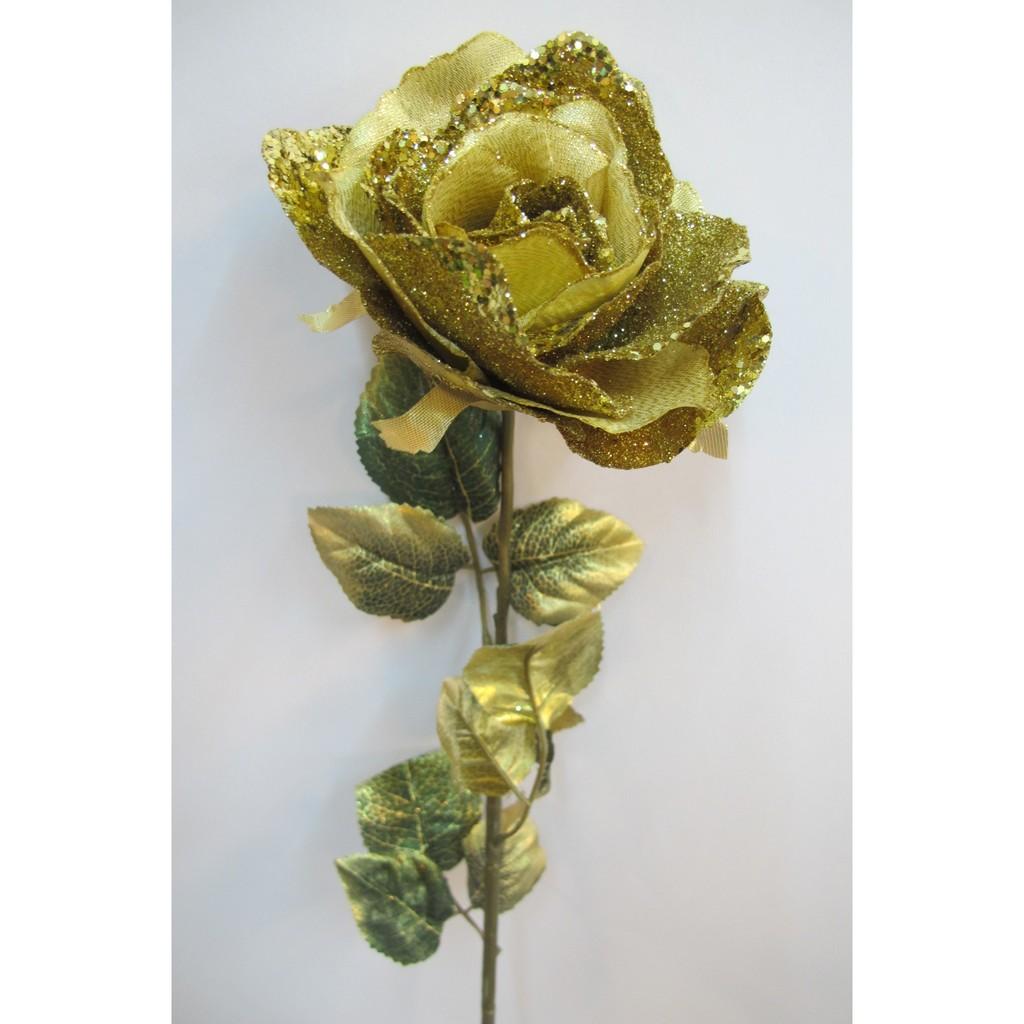 ~樂提小舖~01508 華麗亮片玫瑰2 色  銀色玫瑰金玫瑰人造花裝飾花假花亮片玫瑰花亮粉