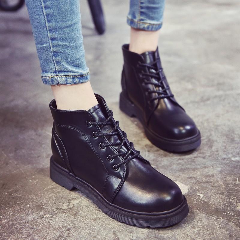 ~風雅軒~ 短靴女春秋單靴短筒圓頭低跟平底系帶馬丁靴女英倫風學生裸靴
