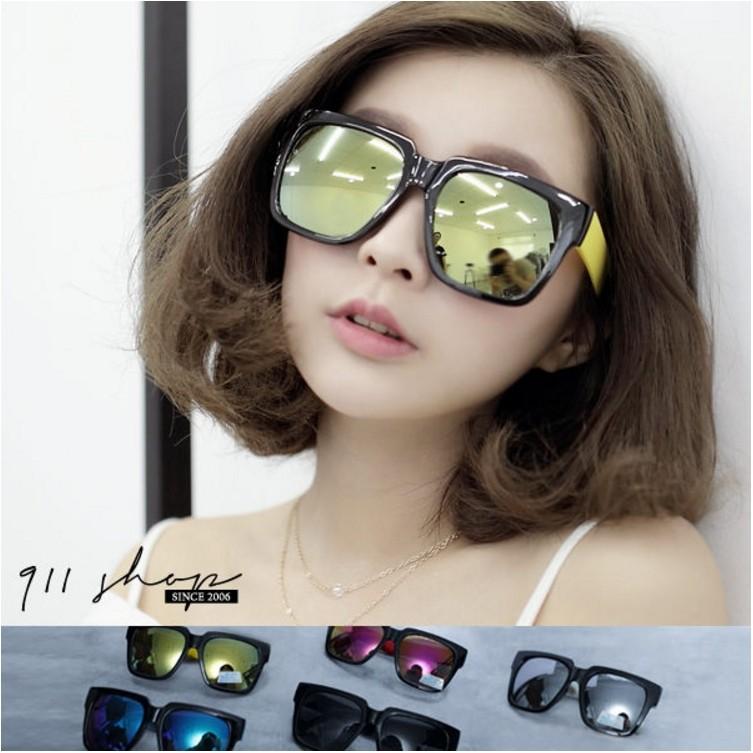 Crystal .MIT 製~俏皮彩色腳水銀鏡片大方框粗膠框太陽眼鏡uv400 ~f725