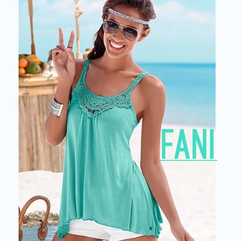 ~方妮FaNi ~ ~深v 藍鉤花背心小洋裝沙灘裙~海灘辣妹可內搭褲襪罩衫美背內衣外套BR