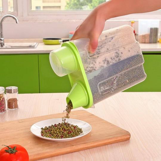 特大號易傾倒雜糧儲物罐有蓋密封罐雙格廚房食品收納罐