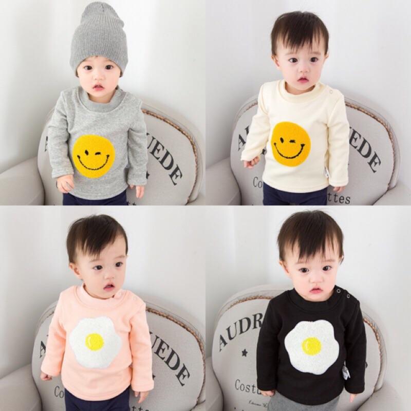 女童男童兒童小童寶寶嬰兒新生兒加厚加絨保暖黃色笑臉荷包蛋貼布長袖圓領T 恤上衣
