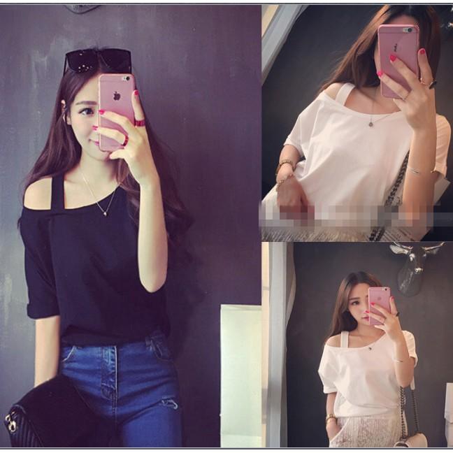 ~1904 ~奧戴爾棉t 卹女 2016  短袖純色修身奧戴爾棉體恤衫大碼
