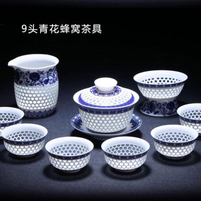青花瓷蜂巢玲瓏茶具組送禮自用兩相宜( 茶夾茶巾)