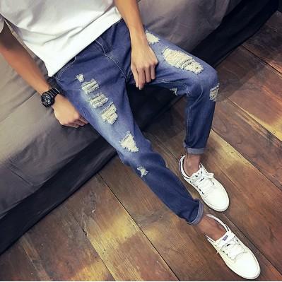 九分破洞牛仔褲男士修身薄款小腳哈倫褲青年潮流9 分乞丐褲子