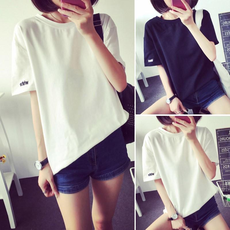 黑色白色2 色  韓系圓領甜美小清新打底衫刺繡字母短袖T 恤寬鬆百搭素t 上衣大 T 女生