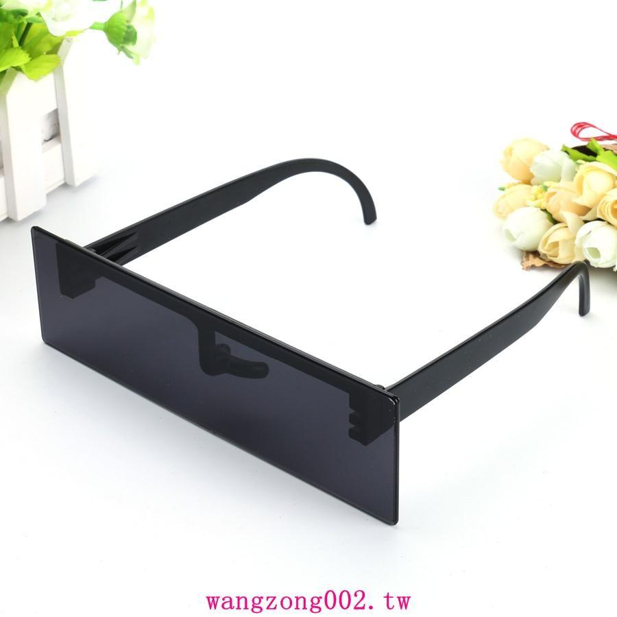 Ladygaga 長方形黑色馬賽克眼鏡平板打碼墨鏡搞怪搞笑 娛樂道具