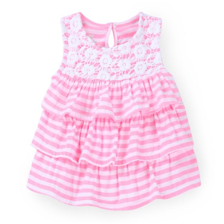 嬰兒小童純棉印花條紋圓領無袖多層花邊女寶寶上衣