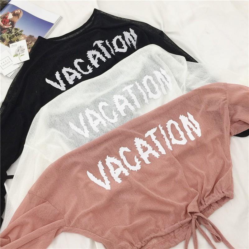 现货实拍女生上衣旅遊沙灘防曬衫女薄款透氣舒適長袖T 恤微透罩衫防曬透視空調衫