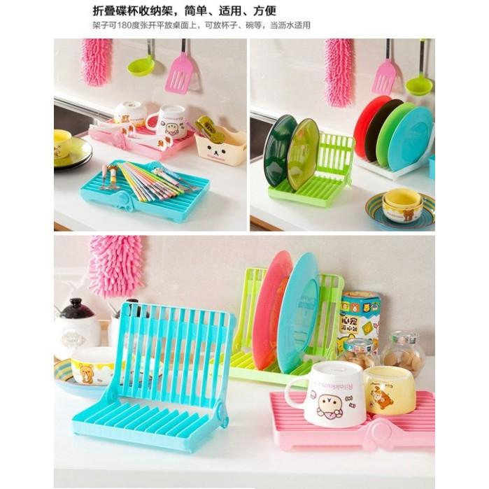 布依的家摺疊盤子收納架子瀝水架碗碟廚房置物架整理架杯子層架塑料晾碗架露營野餐
