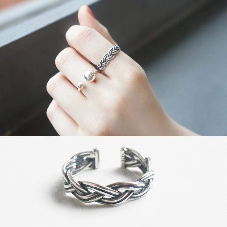 三件起拍可混拍 價包郵 韓國風S925 純銀 復古做舊麻花繩開口戒指指環