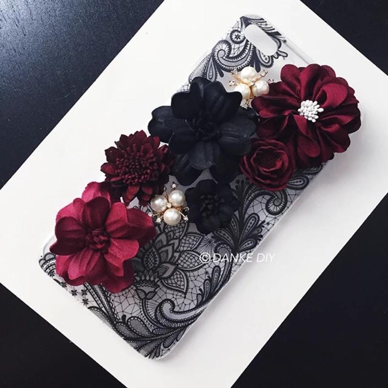 奢華蕾絲名媛風水鑽立體花朵手作軟殼 iPhone7 7plus